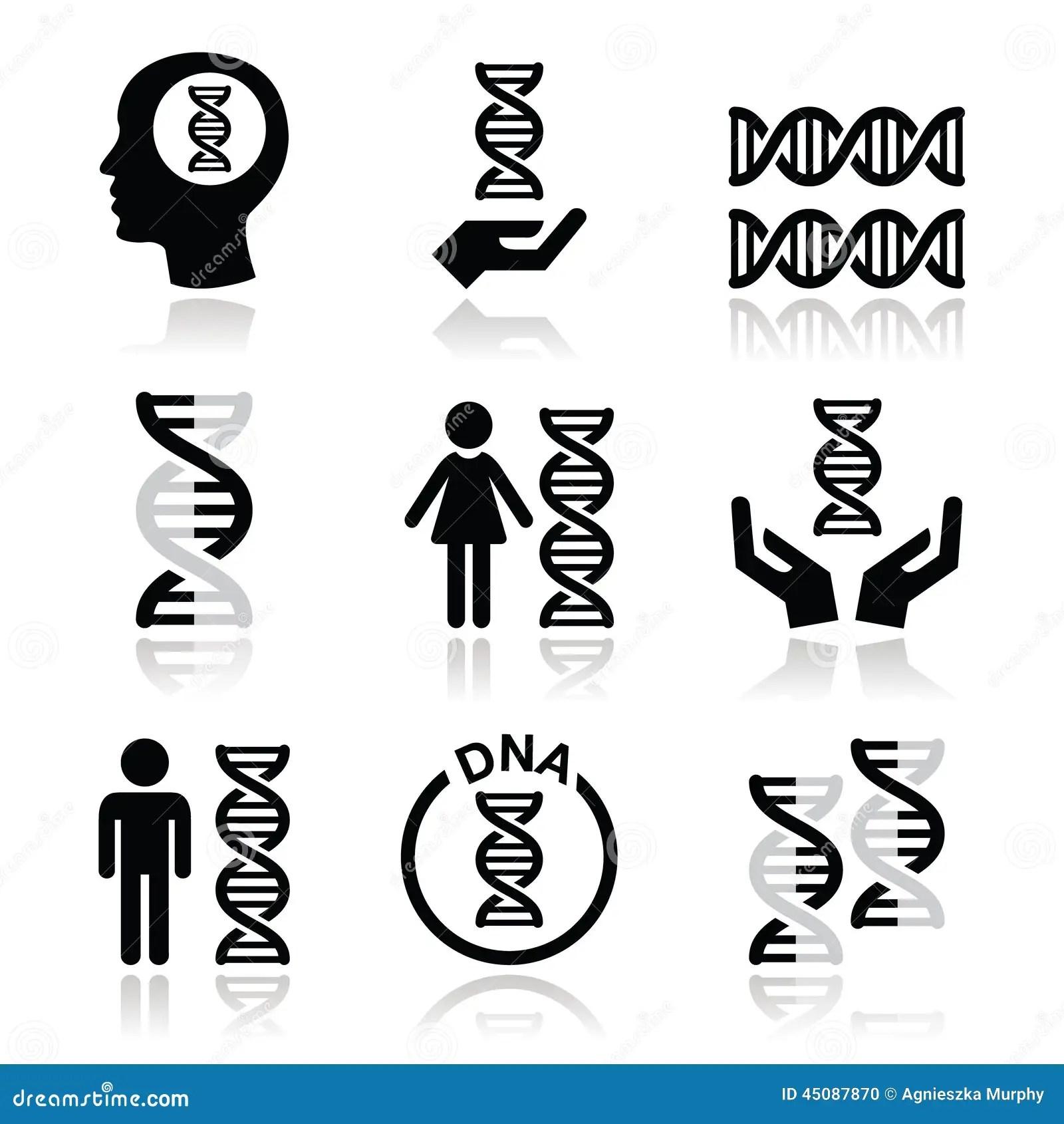 Human Dna Genetics Icons Set Stock Illustration