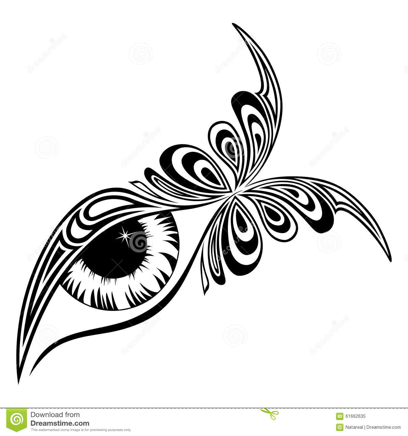 Human Eye With Butterfly Pattern Stock Vector