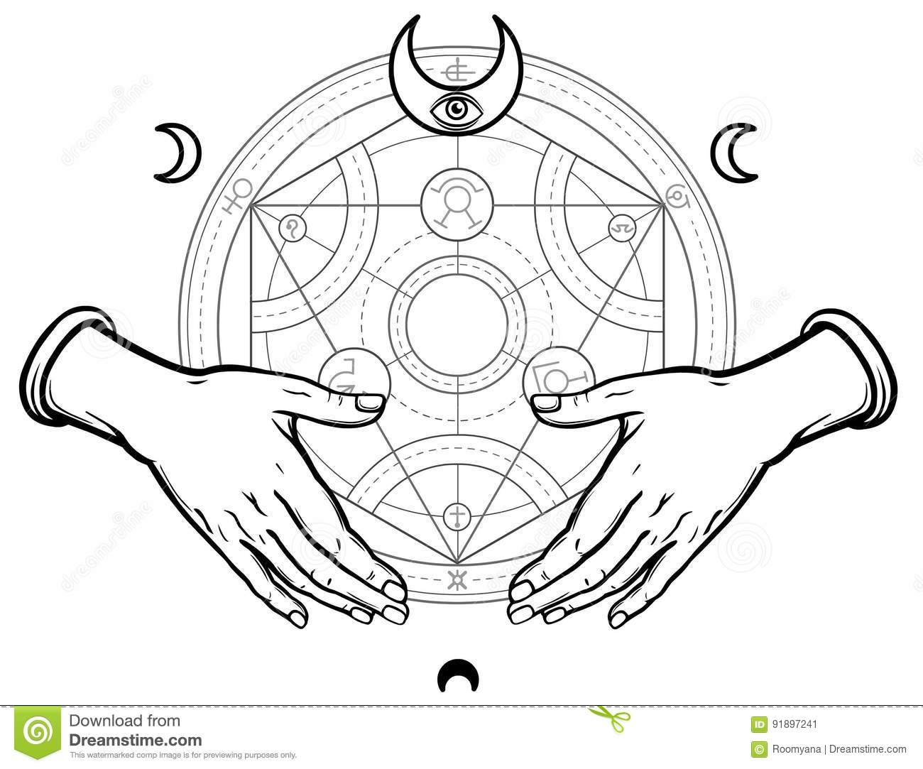 Human Hands Hold Alchemical Circle. Stock Vector