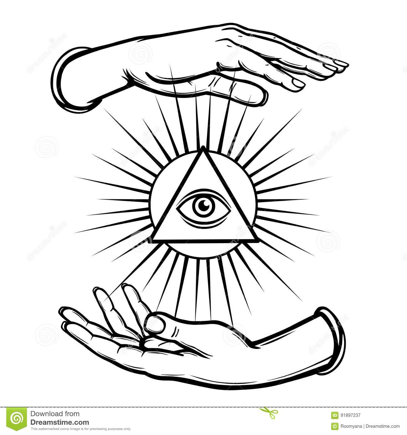 Human Hands Hold The Shining Triangle A Symbol Of Eyes