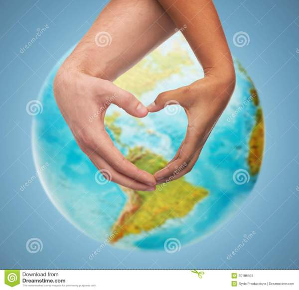 Hands with Heart Shaped World