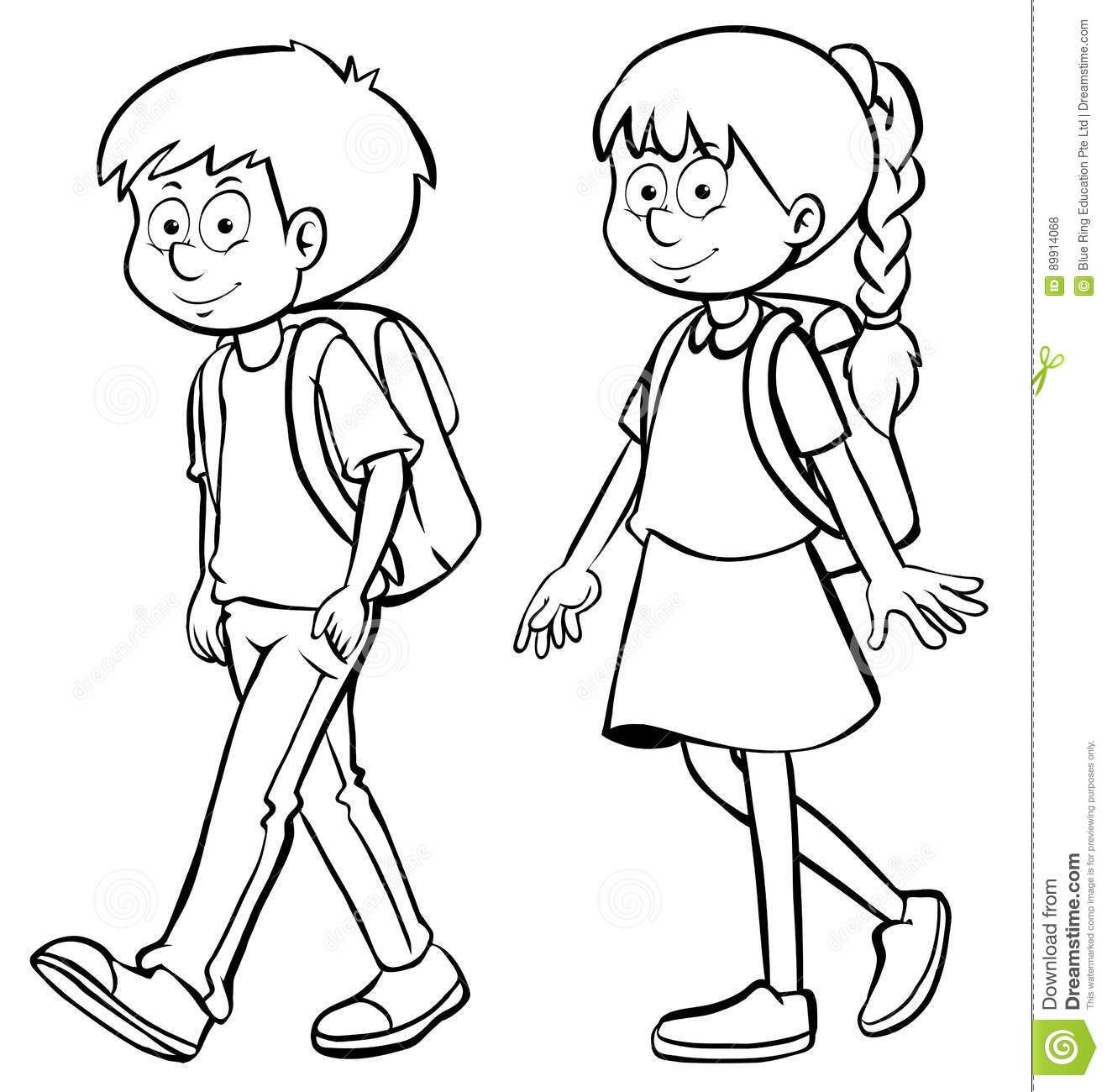 Human Outline For Boy And Girl Stock Illustration