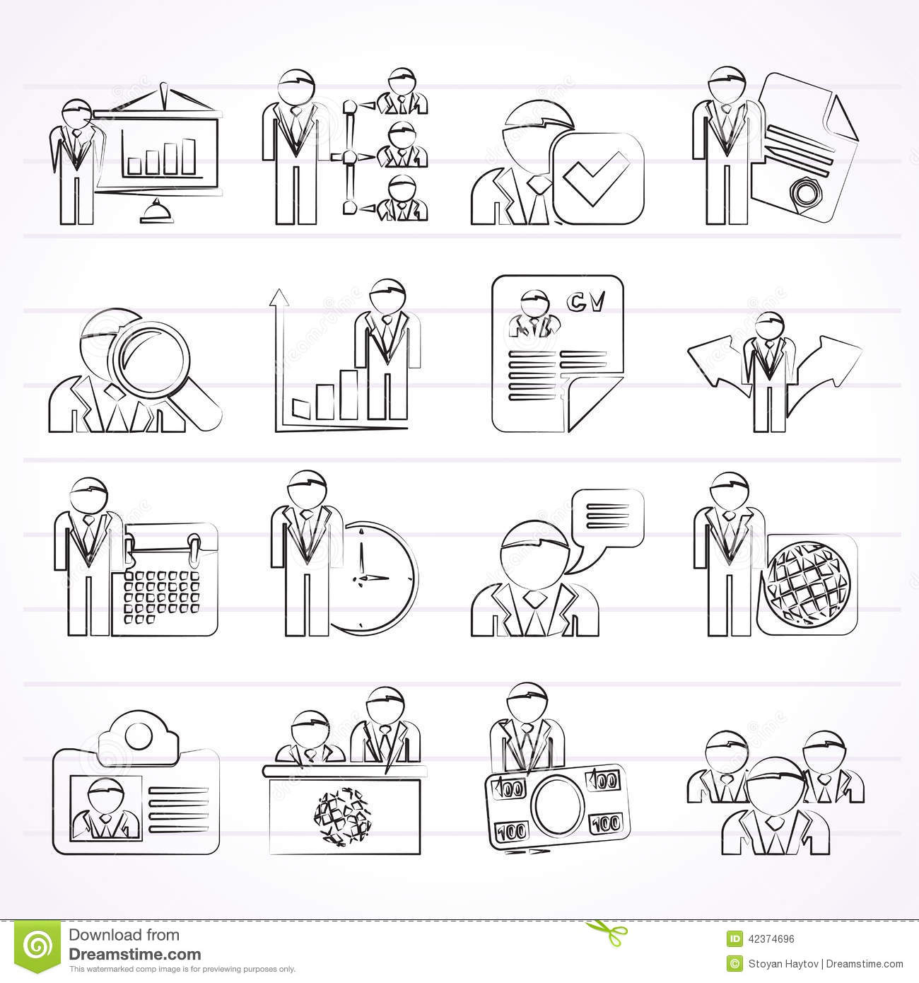 Human Resource And Employment Icons Stock Vector