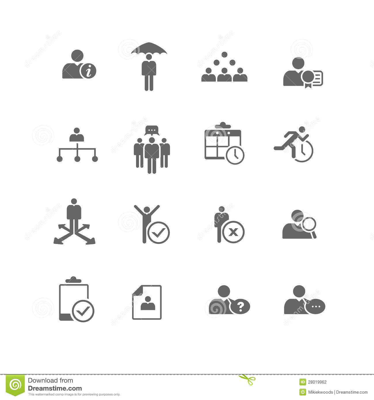 Human Resources Business Management Icon Set Stock