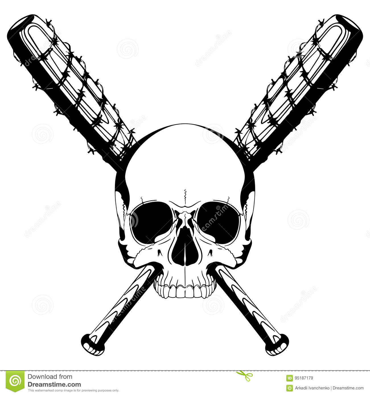 A Human Skull And Two Crossed Baseball Bats Covered With