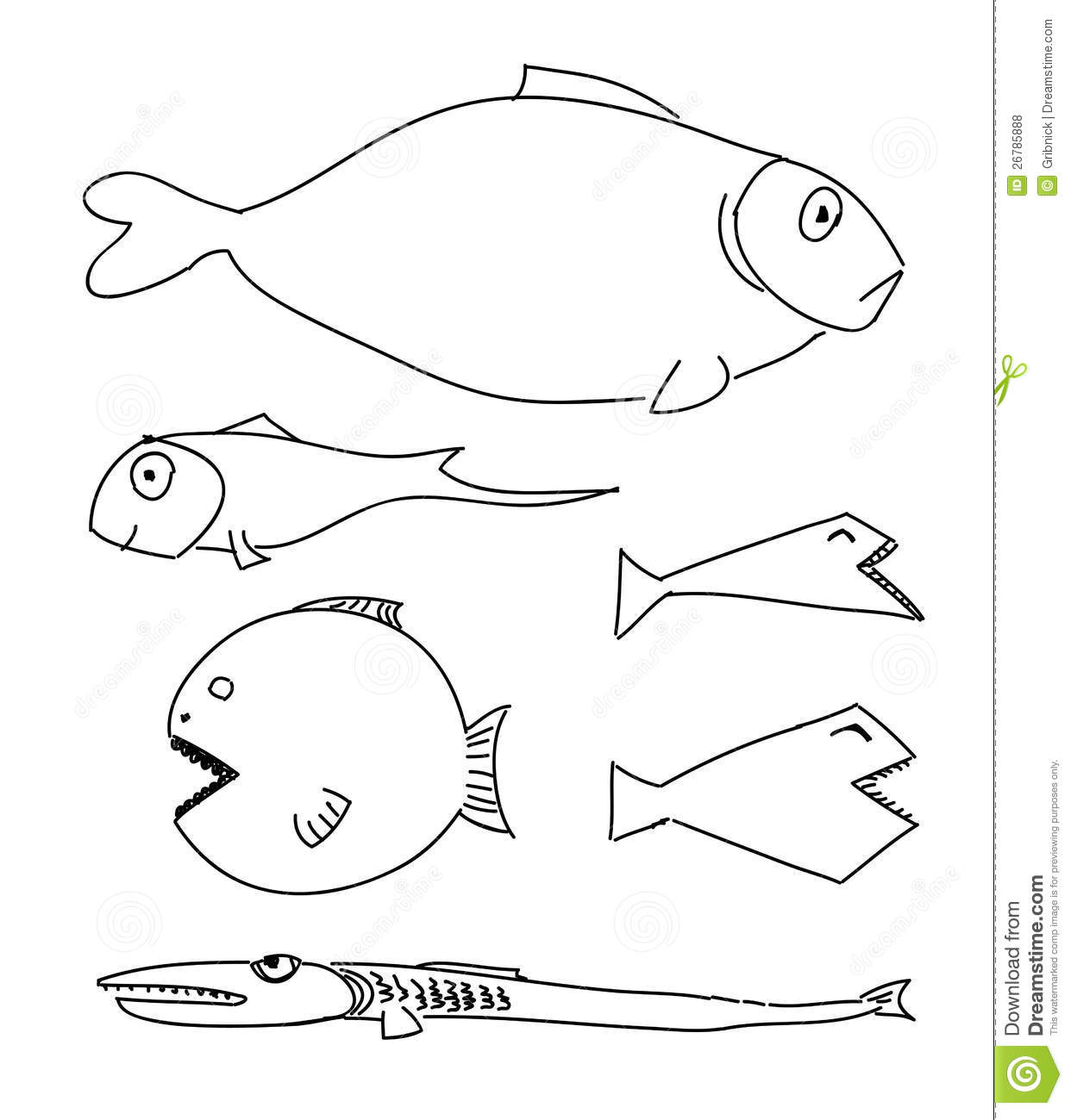 Humorous Drawing Fish Stock Vector Illustration Of Style