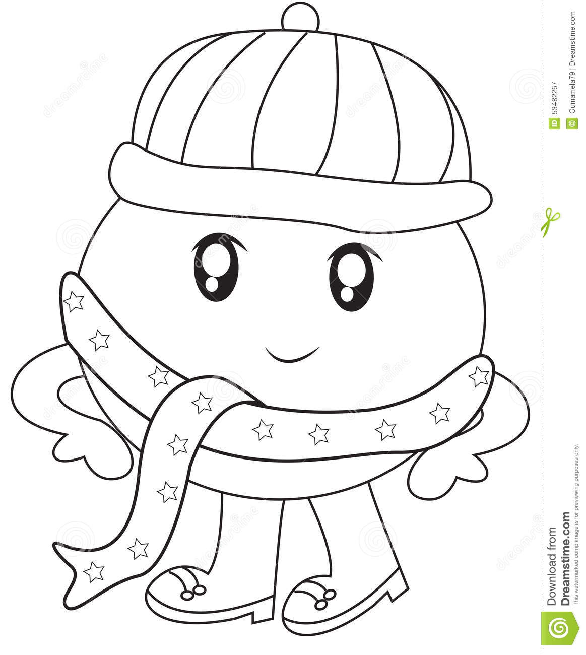 Humpy Dumpy With A Scarf Coloring Page Stock Illustration