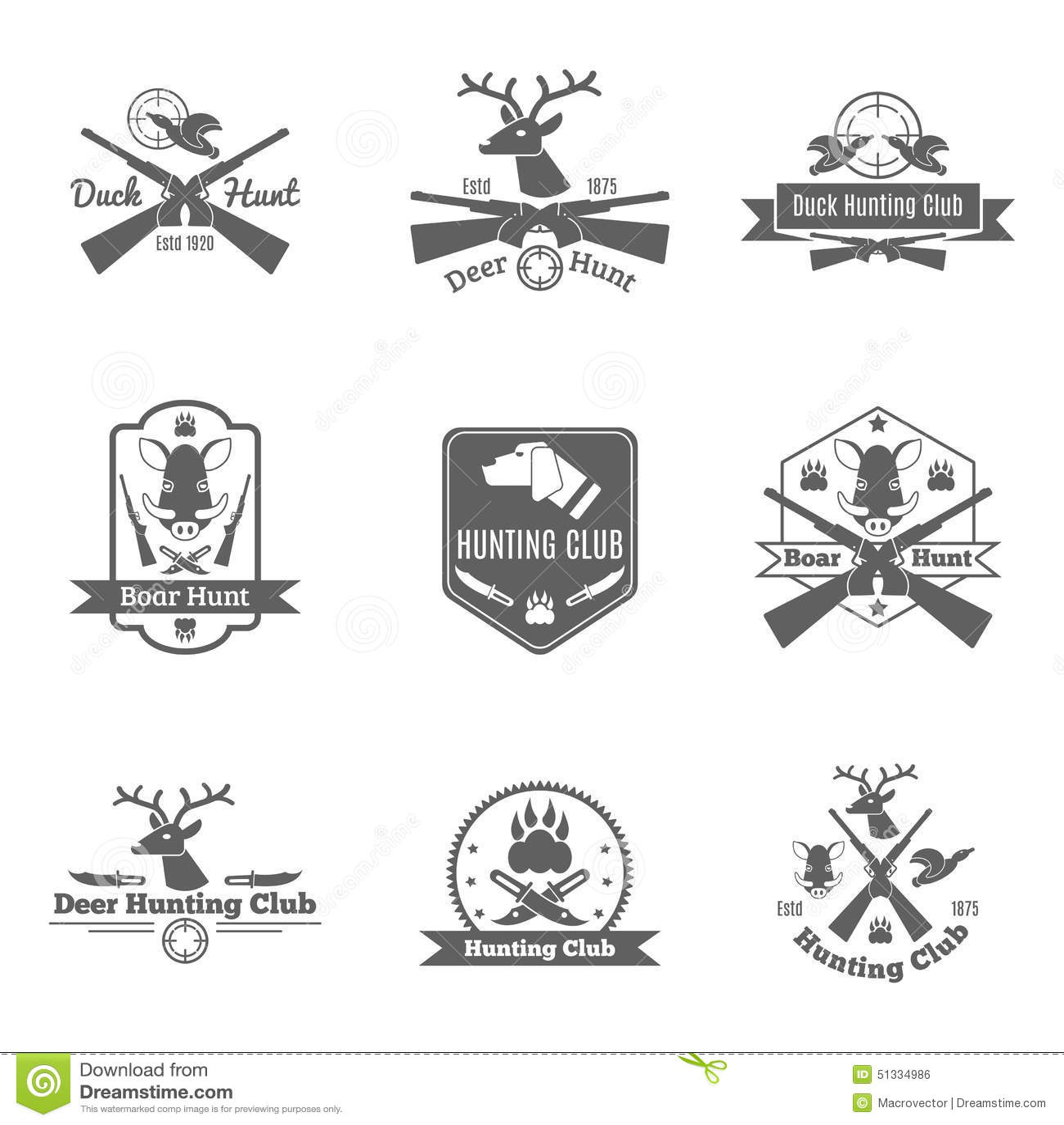 Hunting Label Set Stock Vector Image Of Duck Emblem