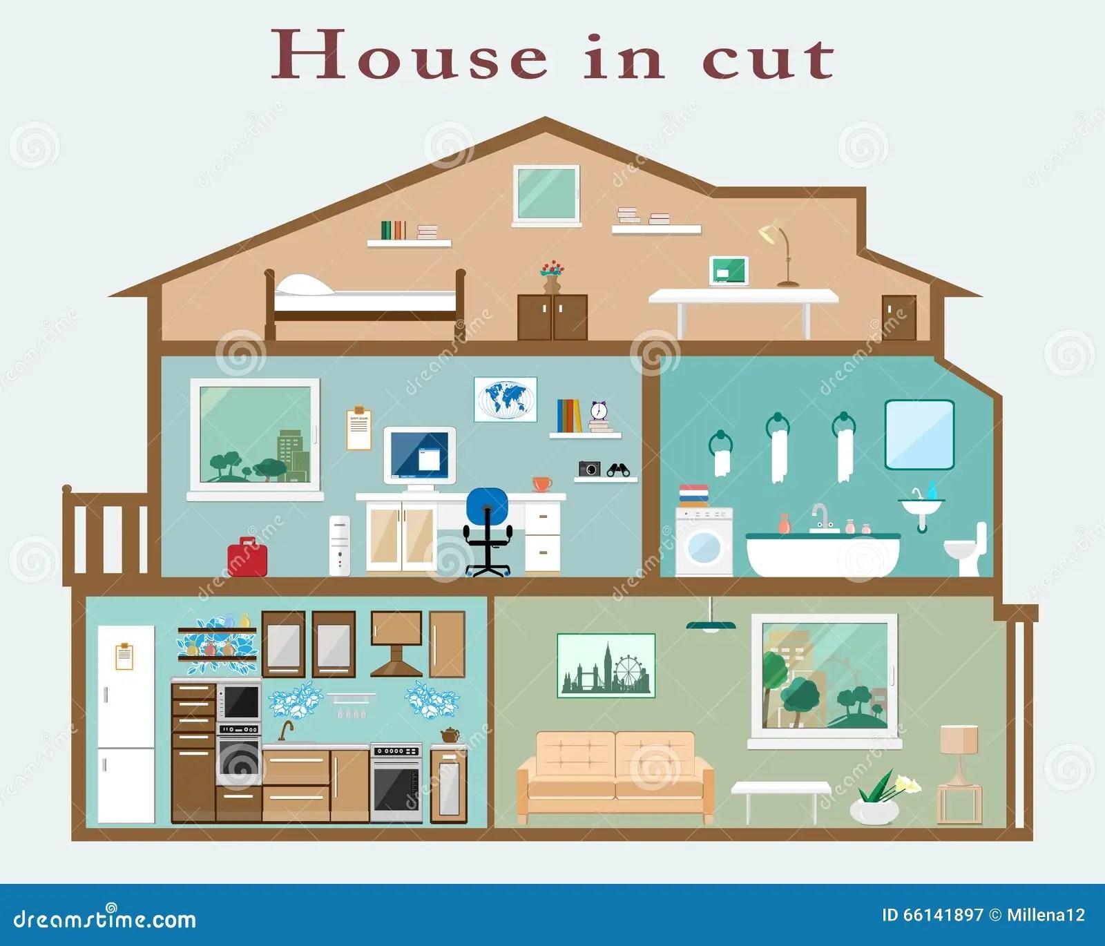 Hus I Snitt Detaljerad Plan Stilinre Uppsattning Av Rum