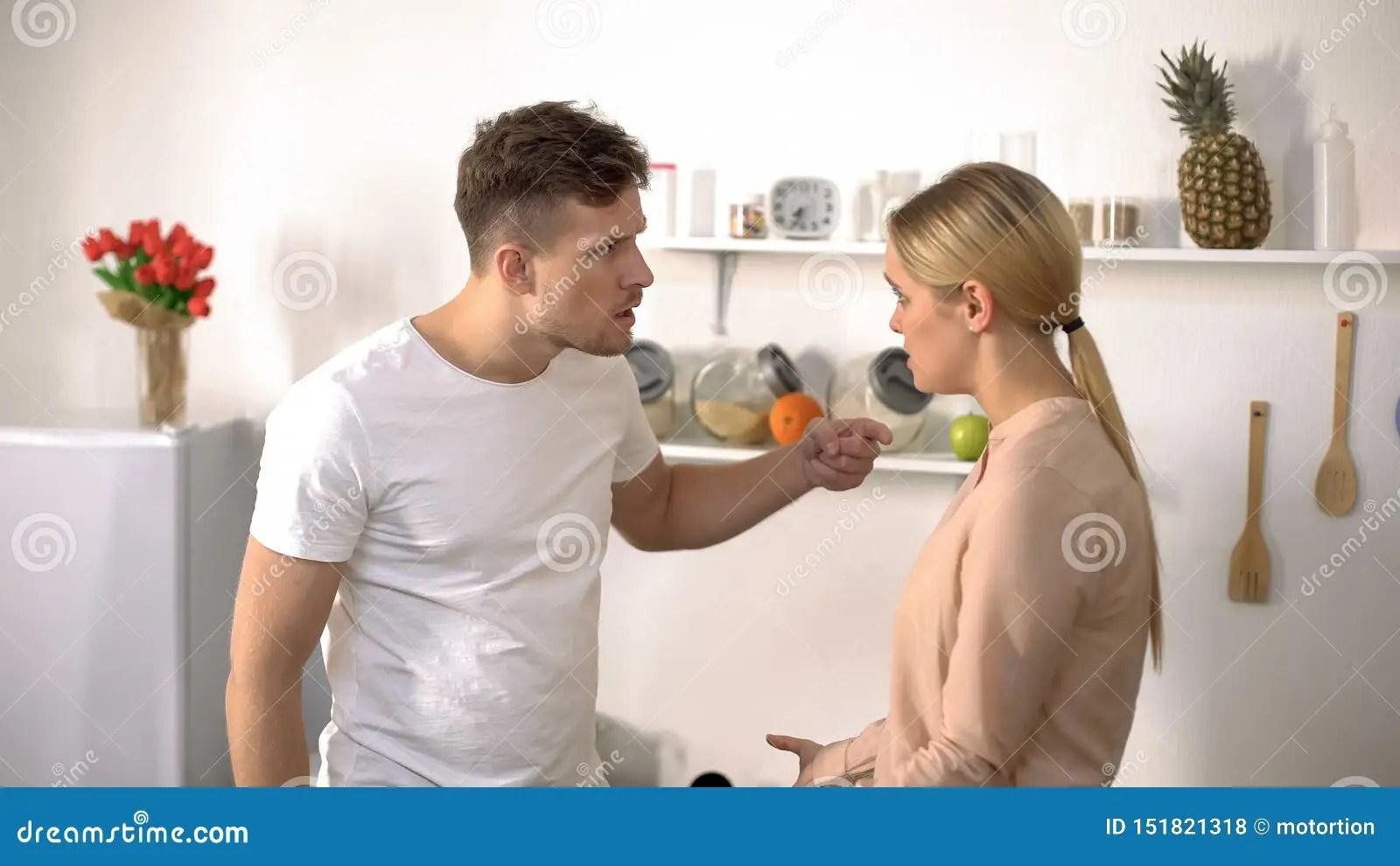 Husband And Wife Quarreling Male Abusing Female Domestic ...