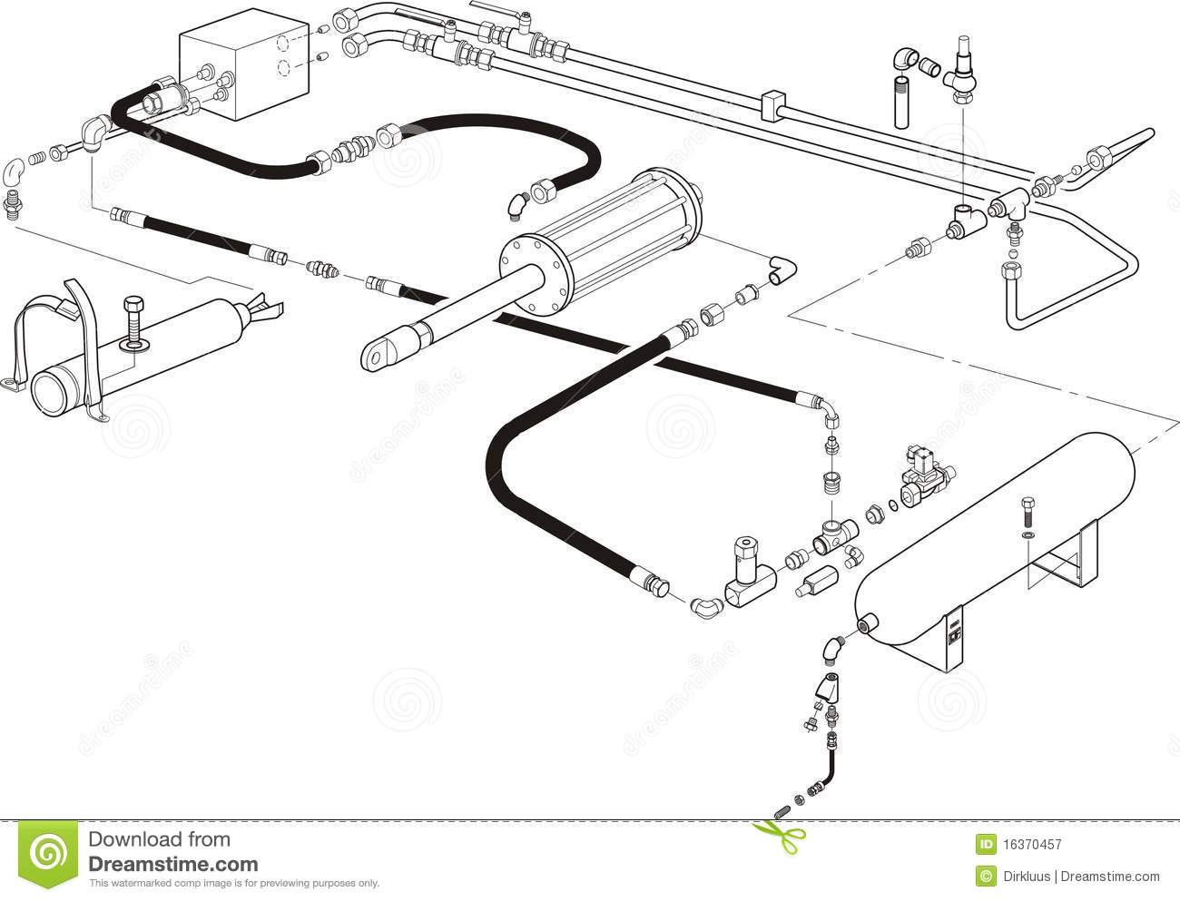 Hydraulic System Illustration Stock Illustration