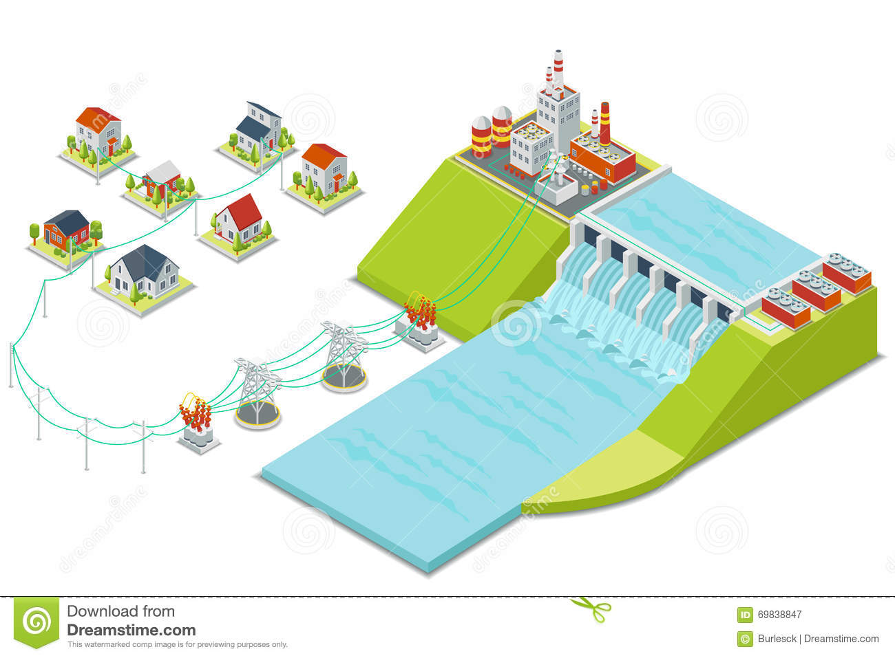 hight resolution of hydro power plant 3d isometric electricity concept
