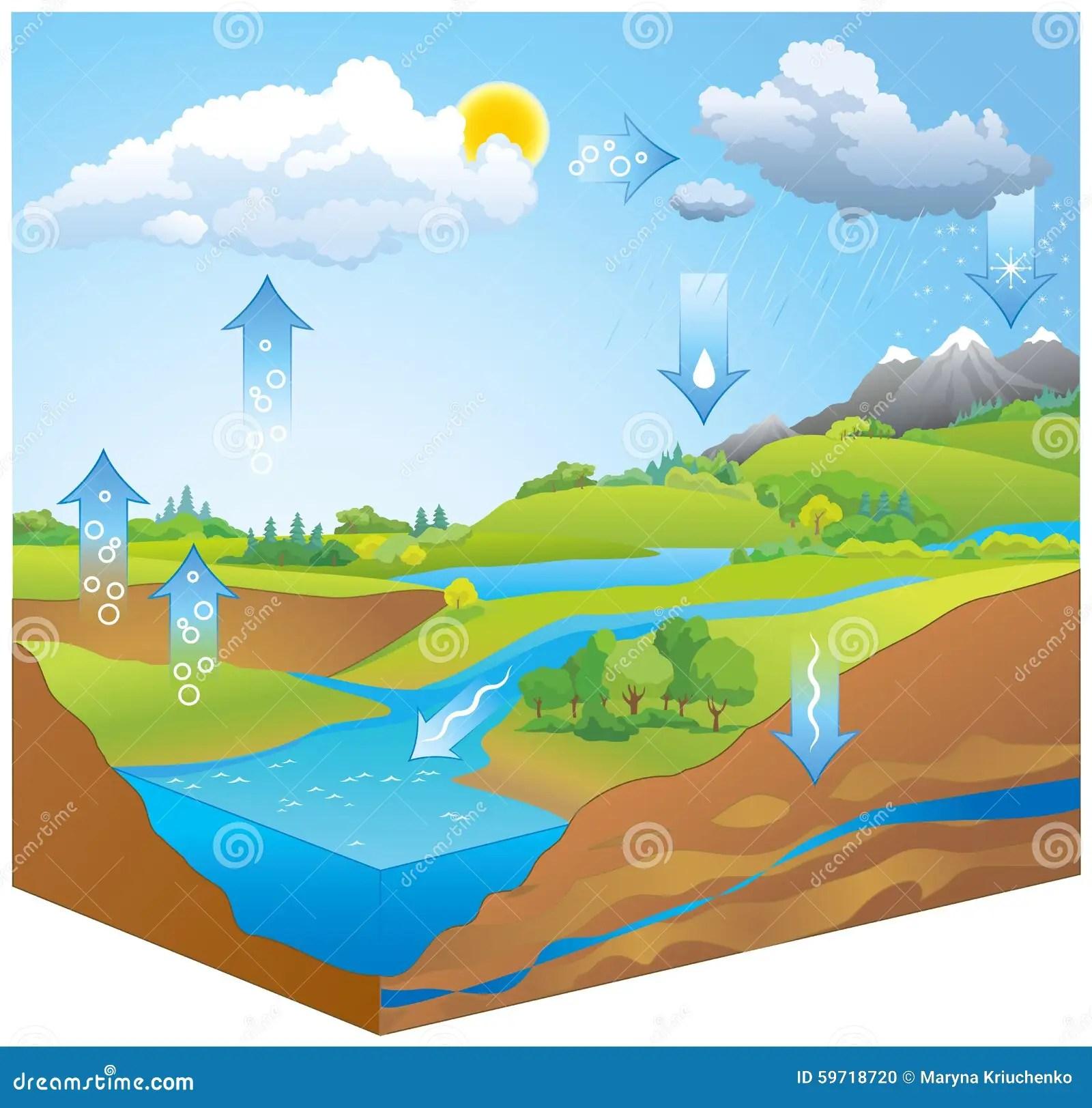 Hydrologische Schleife Dampf Steigt Von Erhitztem Wasser