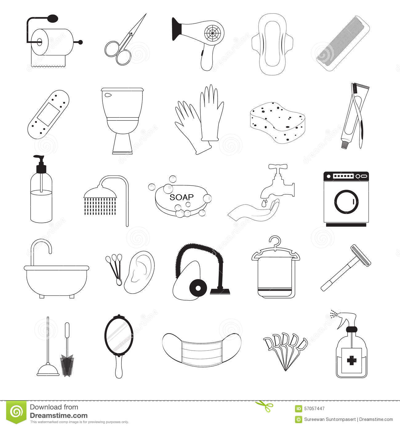 Set Of Bathroom And Personal Hygiene Icons Cartoon Vector