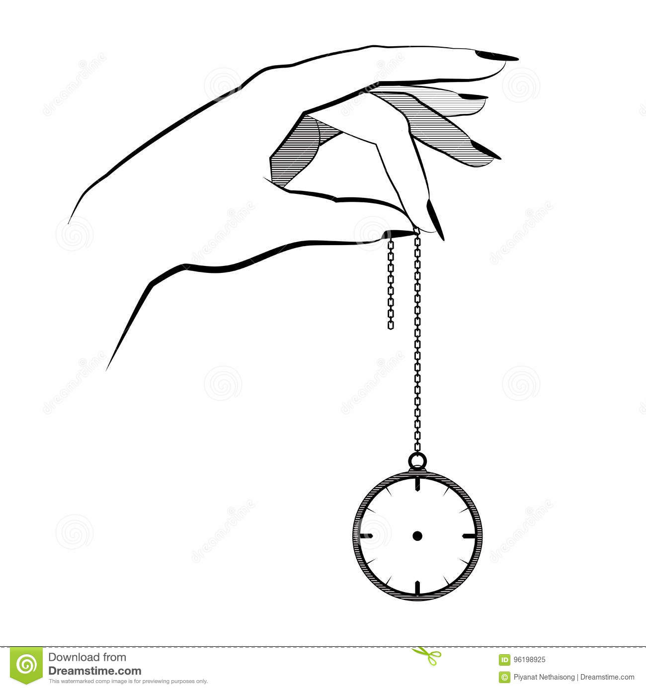 Hypnosis Concept Hand Hold On A Chain Pocket Watch Mind