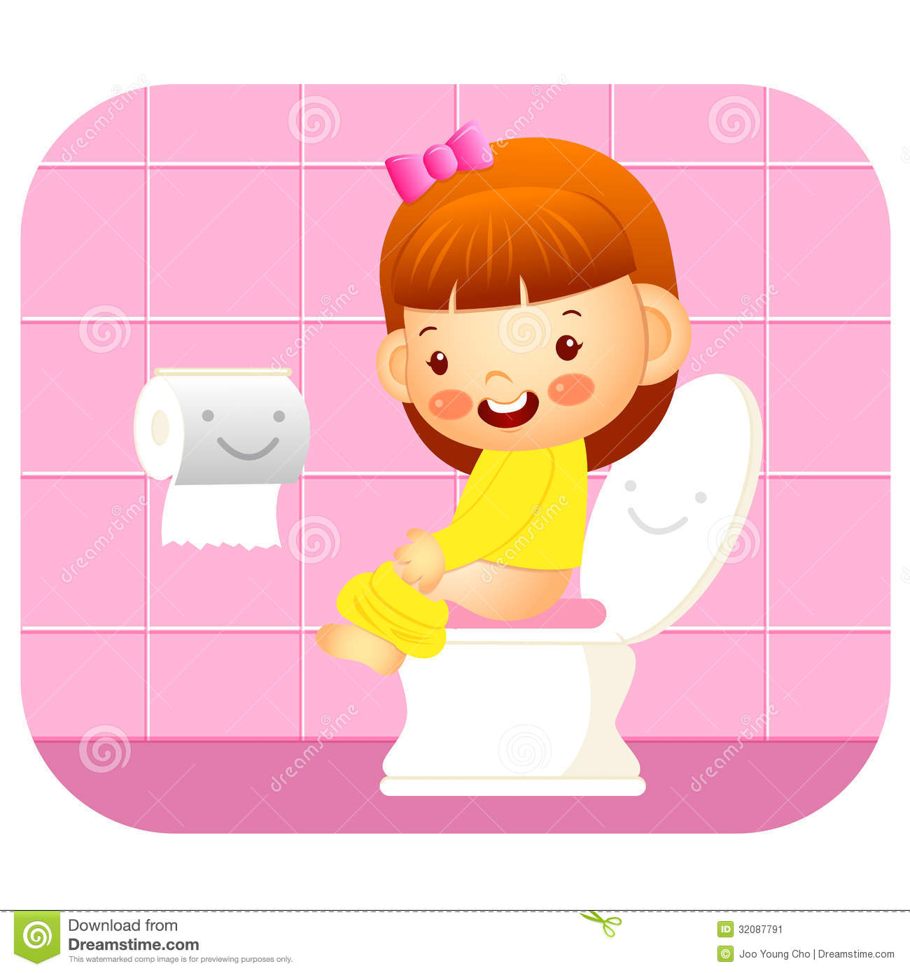 Stock Image I go to the bathroom Education and life Character Design series Image 32087791