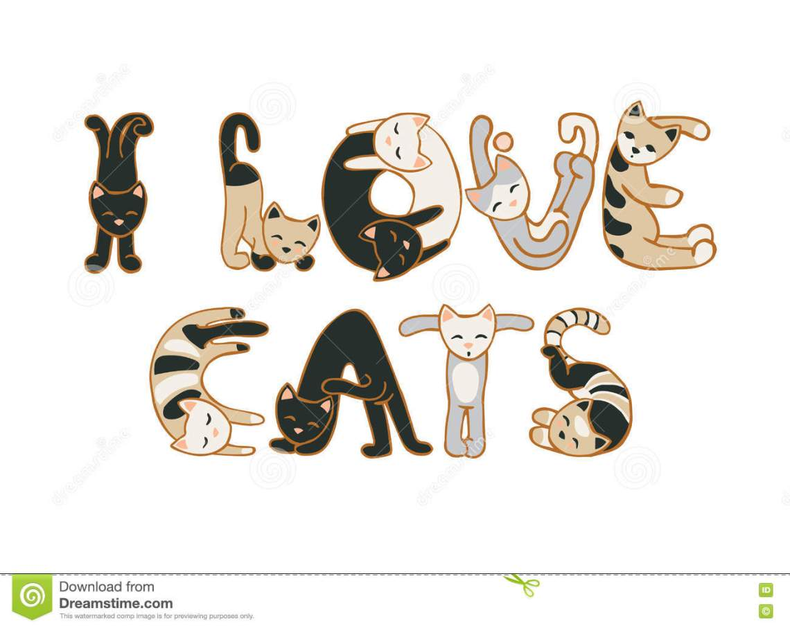 Download I love cats stock vector. Illustration of print ...