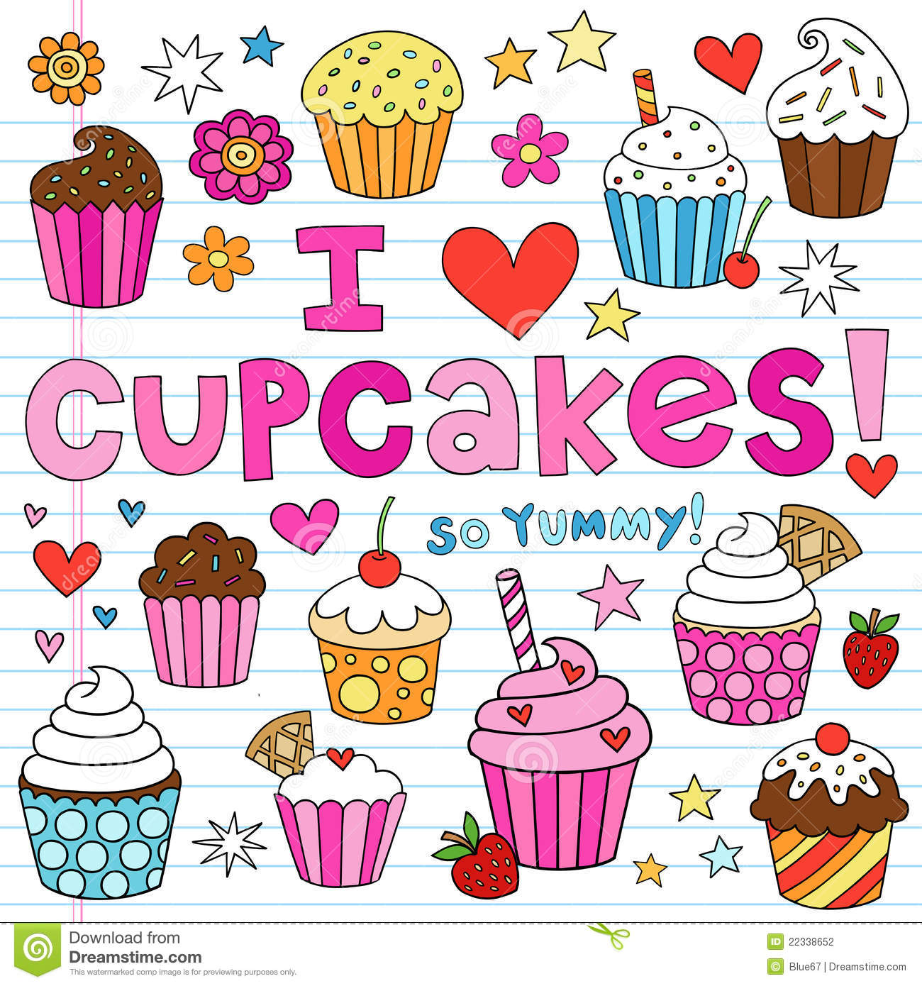 Cute Animated Cupcake Wallpaper I Love Cupcakes Notebook Doodles Vector Elements Stock