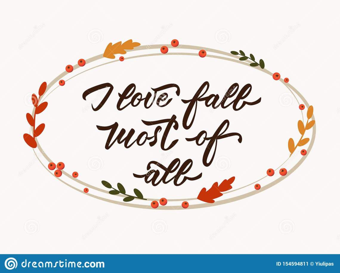 Download I Love Fall Most Of All - Hand Lettering Inscription ...