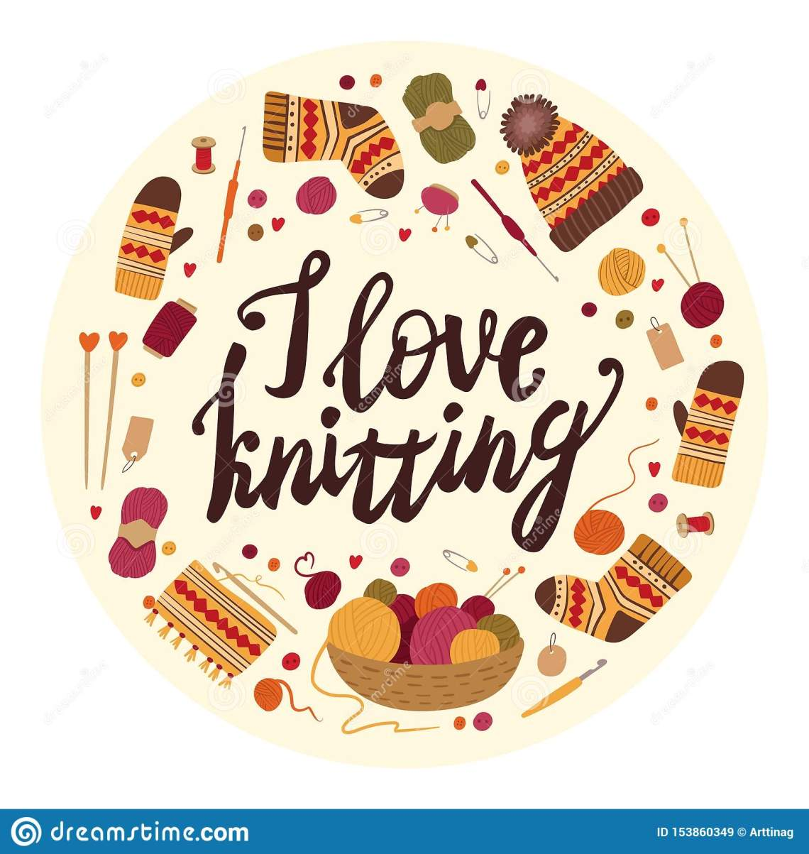 Download I Love Knitting Flat Vector Greeting Card Template. Stock ...