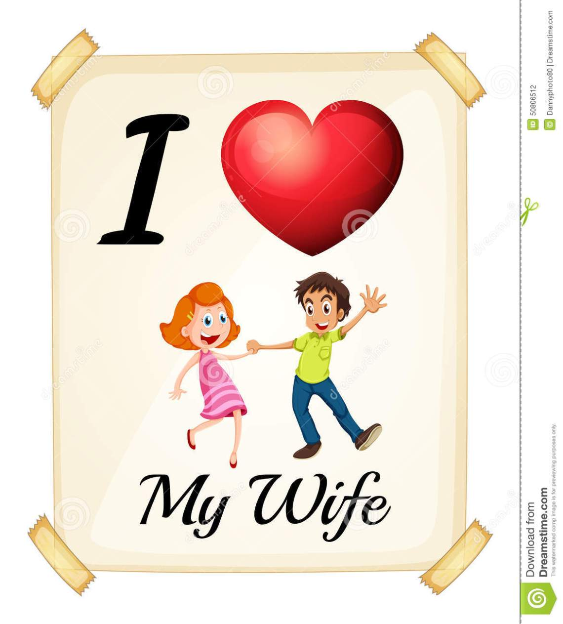 Download I Love My Wife Stock Vector - Image: 50806512
