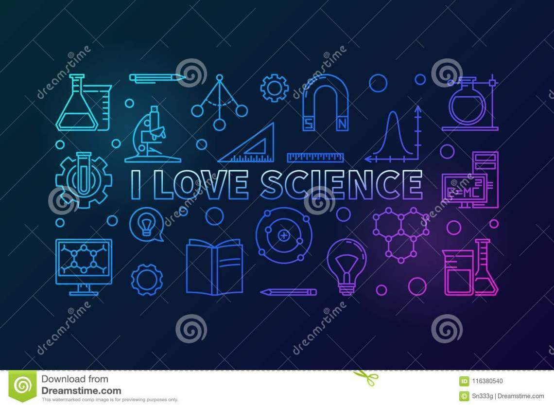 Download I Love Science Vector Colored Horizontal Illustration ...