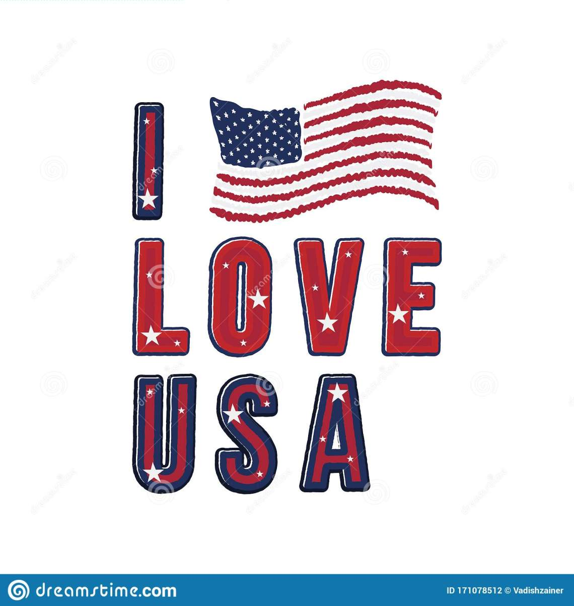 Download I Love USA. Patriotic Font Lettering In American Style ...
