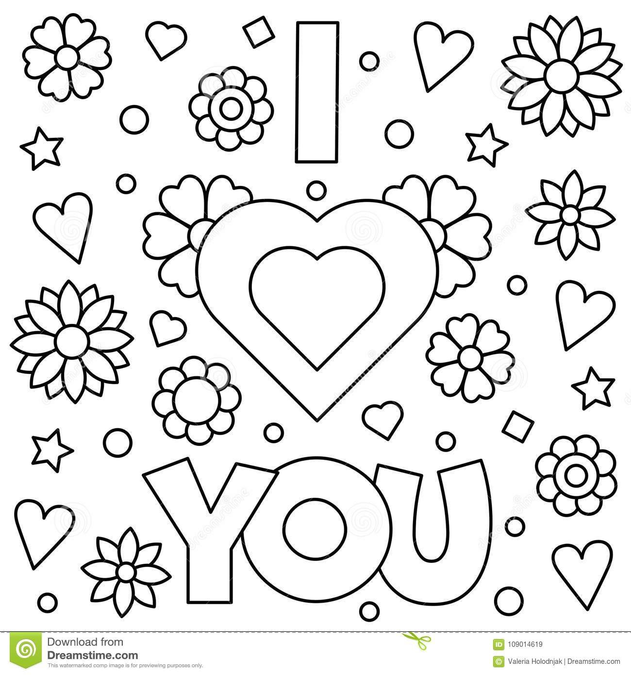 I Love You Coloring Page Vector Illustration Stock