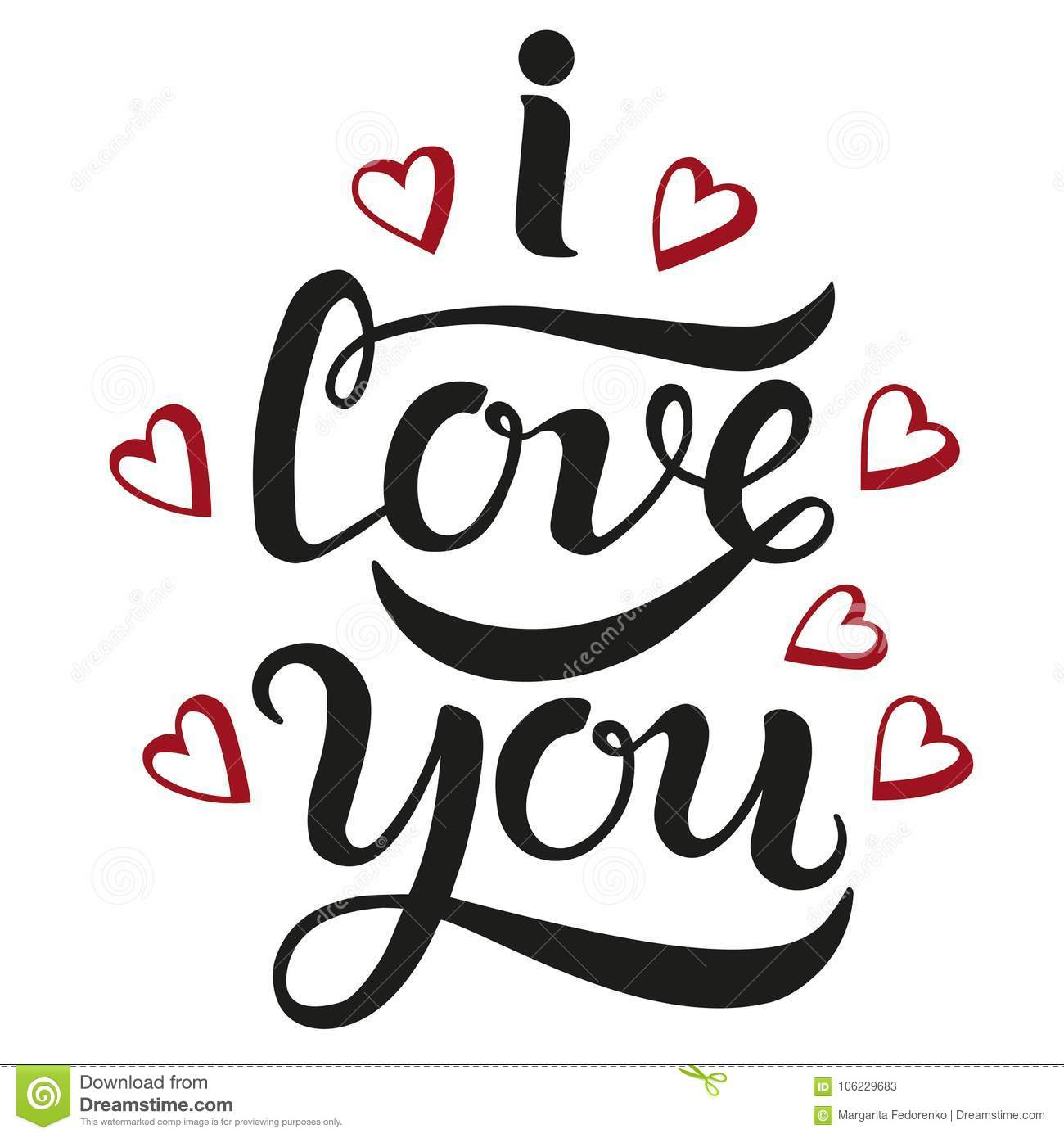 I Love You Cute Lettering Poster Stock Vector