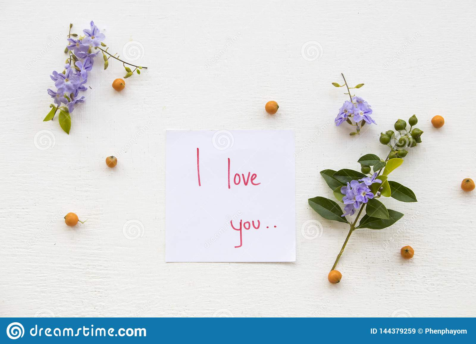 I Love You Message Card Handwriting With Flowers Stock