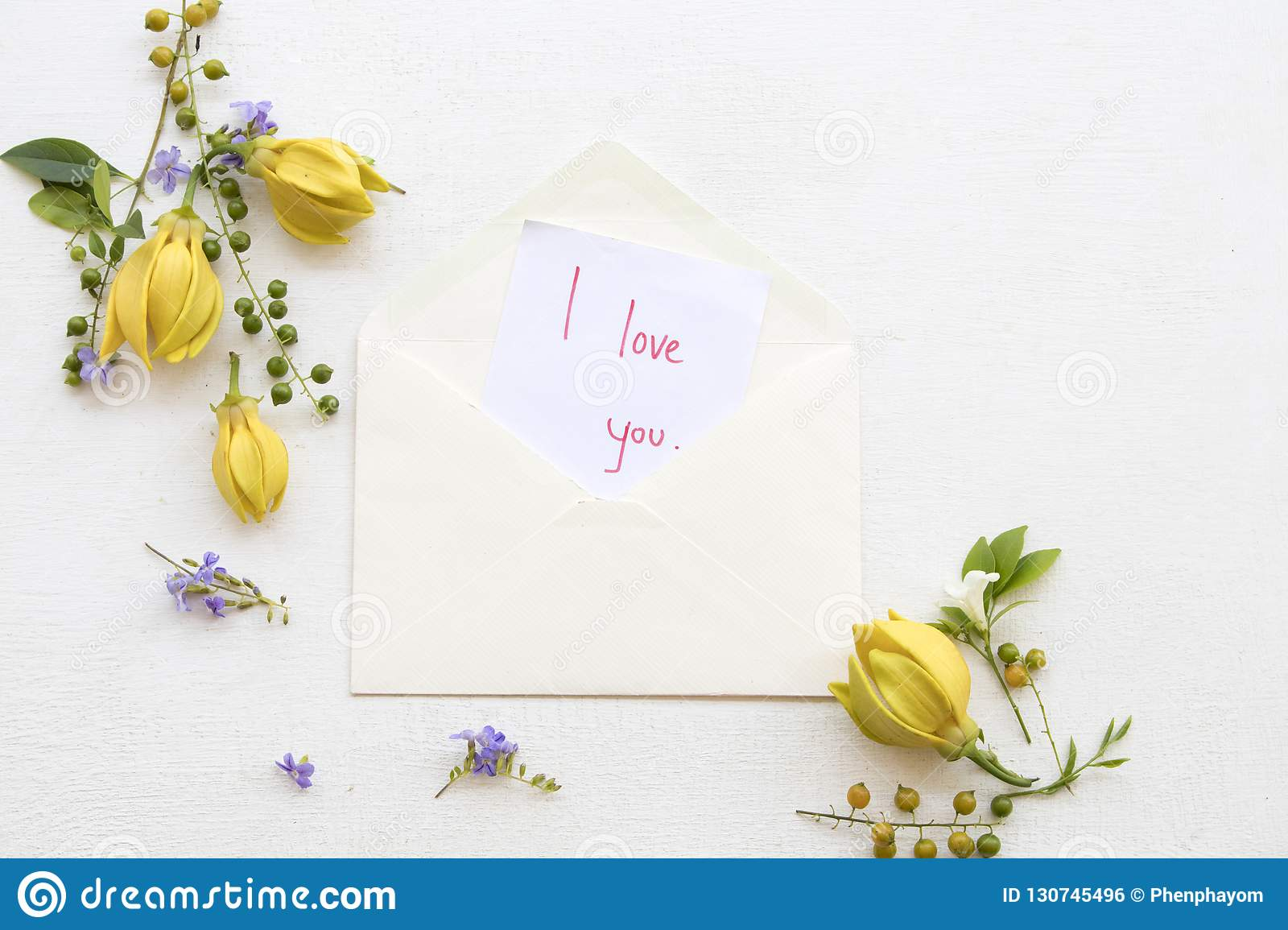 I Love You Message Card Handwriting With Ylang Flower