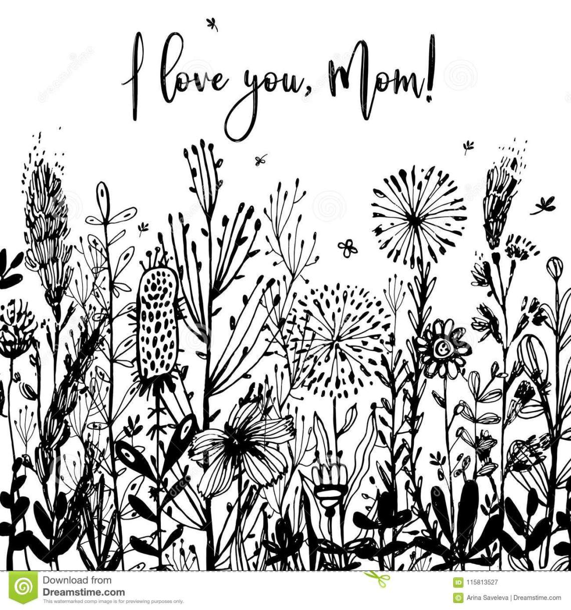 Download I Love You, Mom Black-and-white Background, Celebration ...