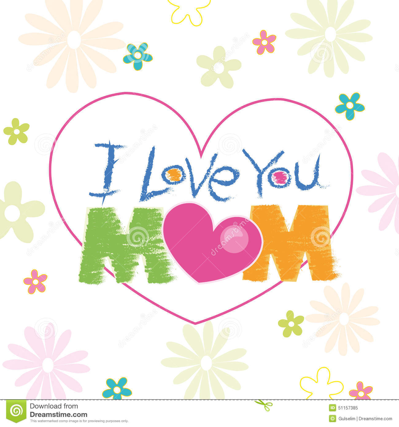 I Love You Mom Doodle With Flowers Greeting Card Stock