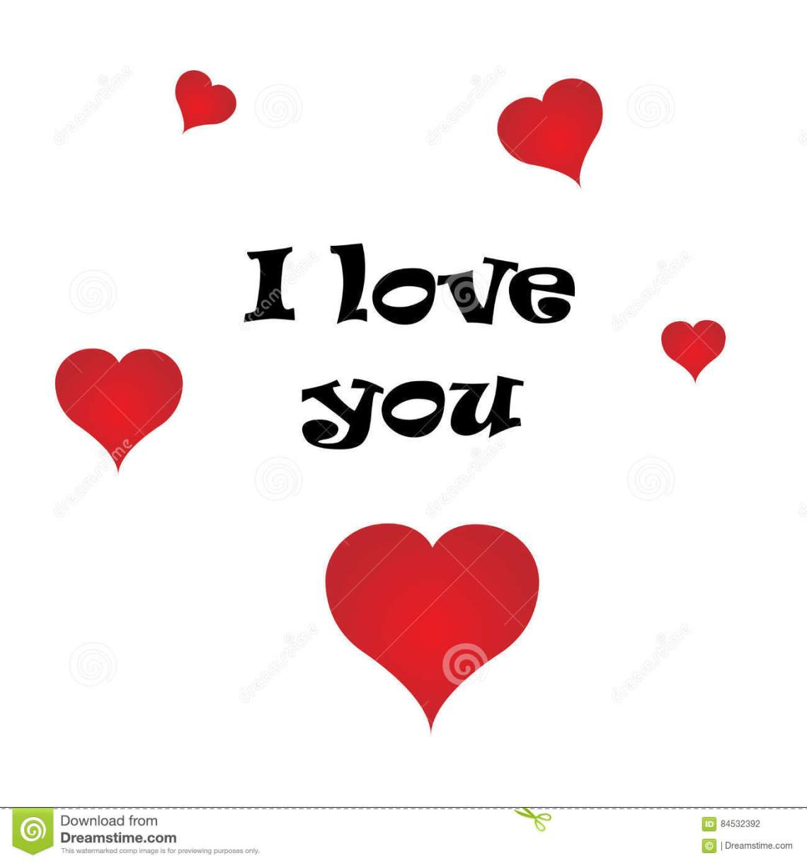 Download I Love You Postcard With Red Hearts. Valentine`s Day ...