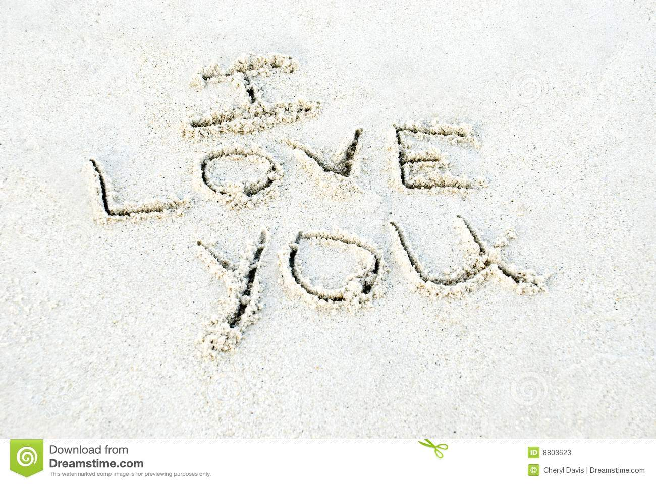 I Love You Written In Sand Stock Image Image Of