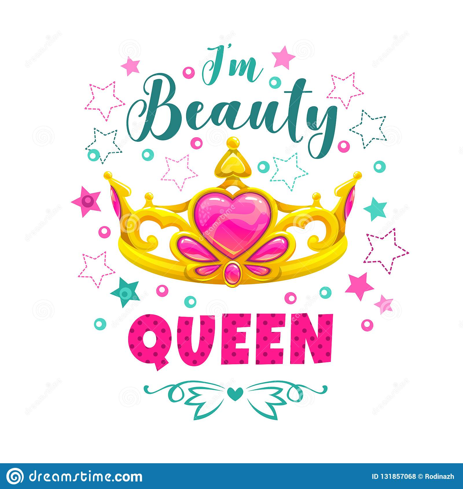 I M Beauty Queen Golden Princess Crown And Slogan Stock Vector Illustration Of Poster Beauty 131857068