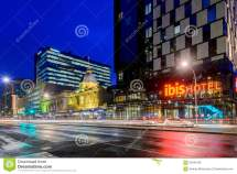 Ibis Hotel Adelaide With Taxis Night Editorial