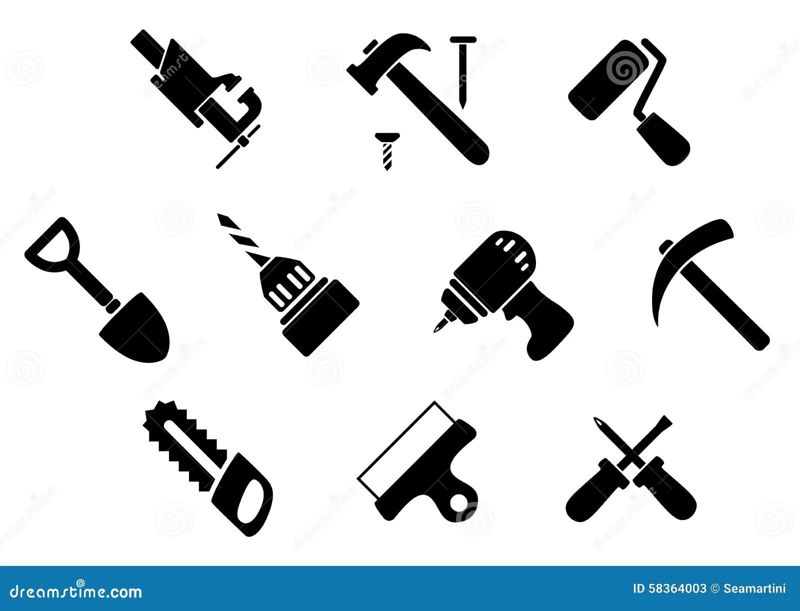 Icônes D'outils De Bricolage Et D'instruments Illustration