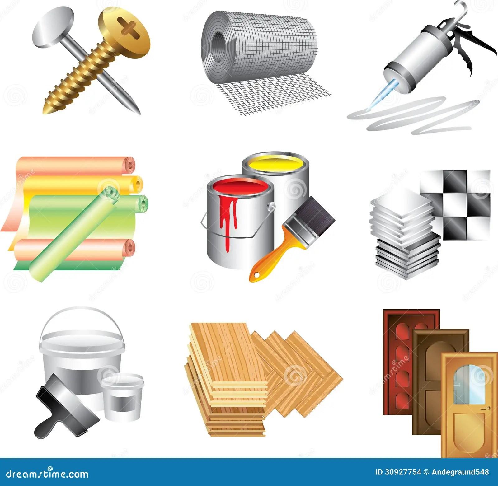 Icones De Materiaux De Construction Illustration De