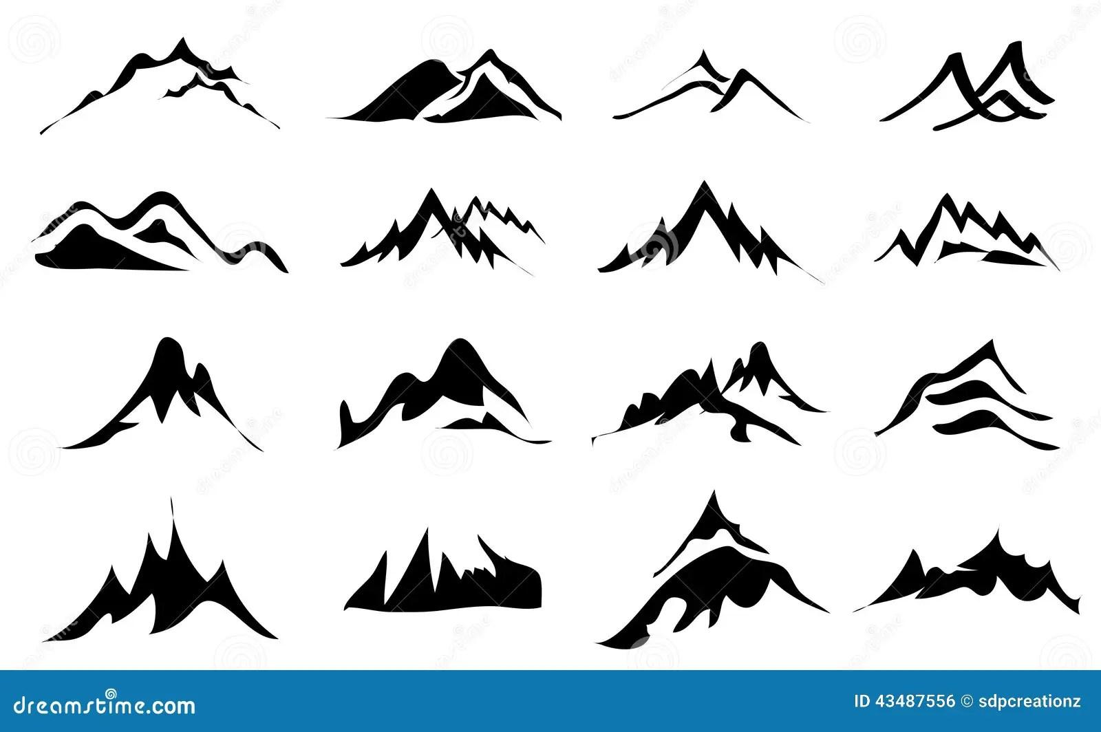 Icones De Montagnes Reglees Illustration De Vecteur