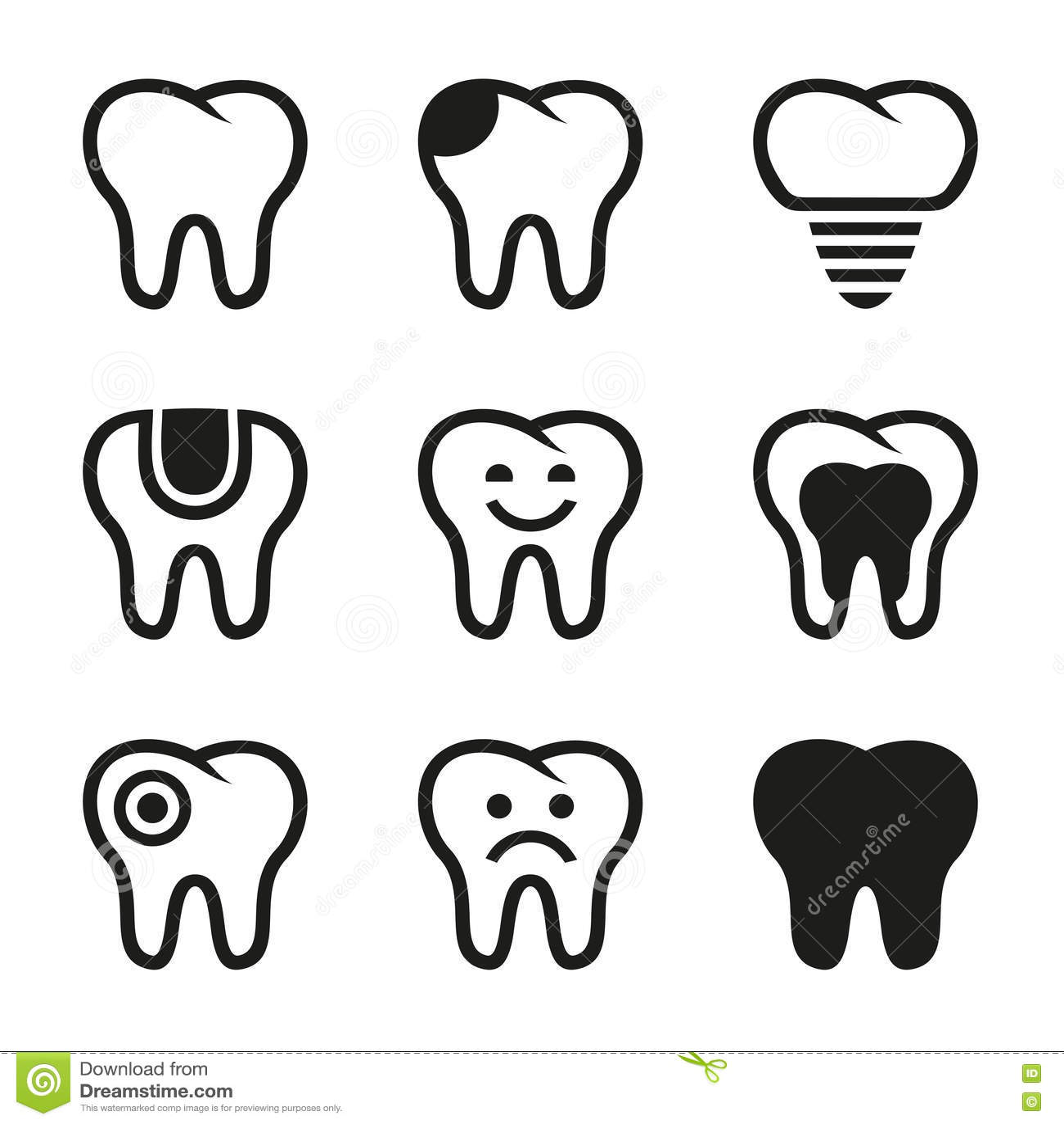 Icones De Vecteur De Dent Reglees Illustration De Vecteur