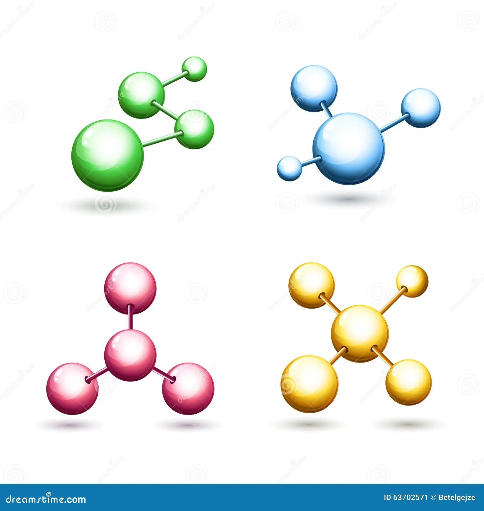 Icones Moleculaires Colorees De Vecteur Reglees Symbole D