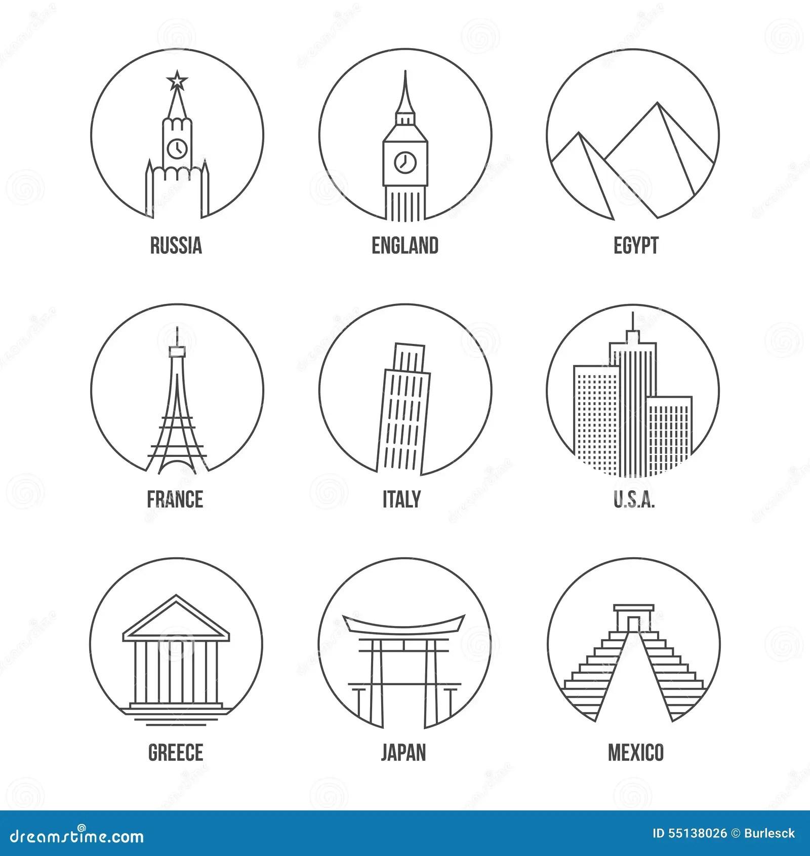 Icones Point De Repere Du Monde De Schema Reglees