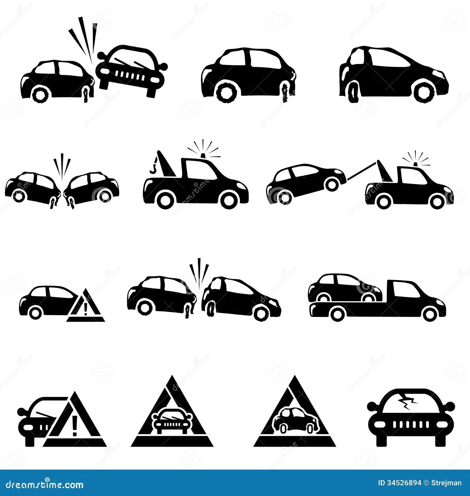 Icones Reglees De L Accident De Voiture Images Stock