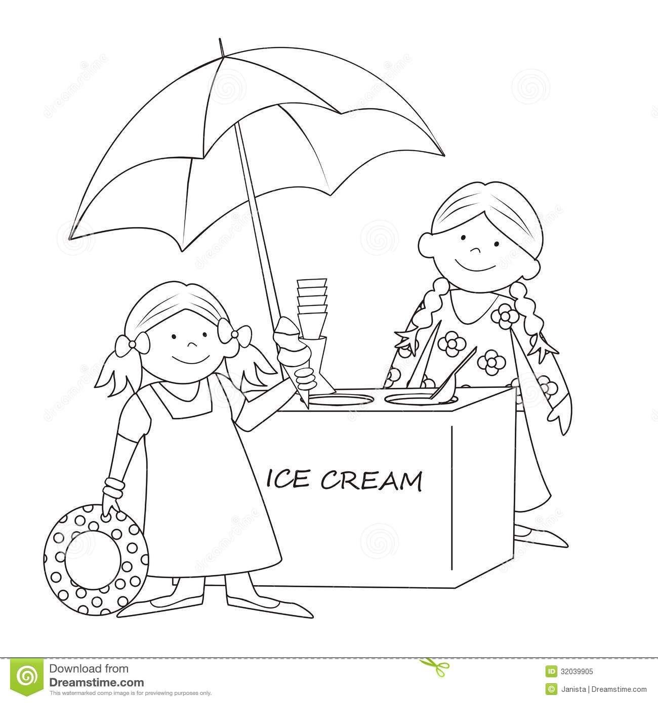 Ice cream stand-coloring stock vector. Image of card