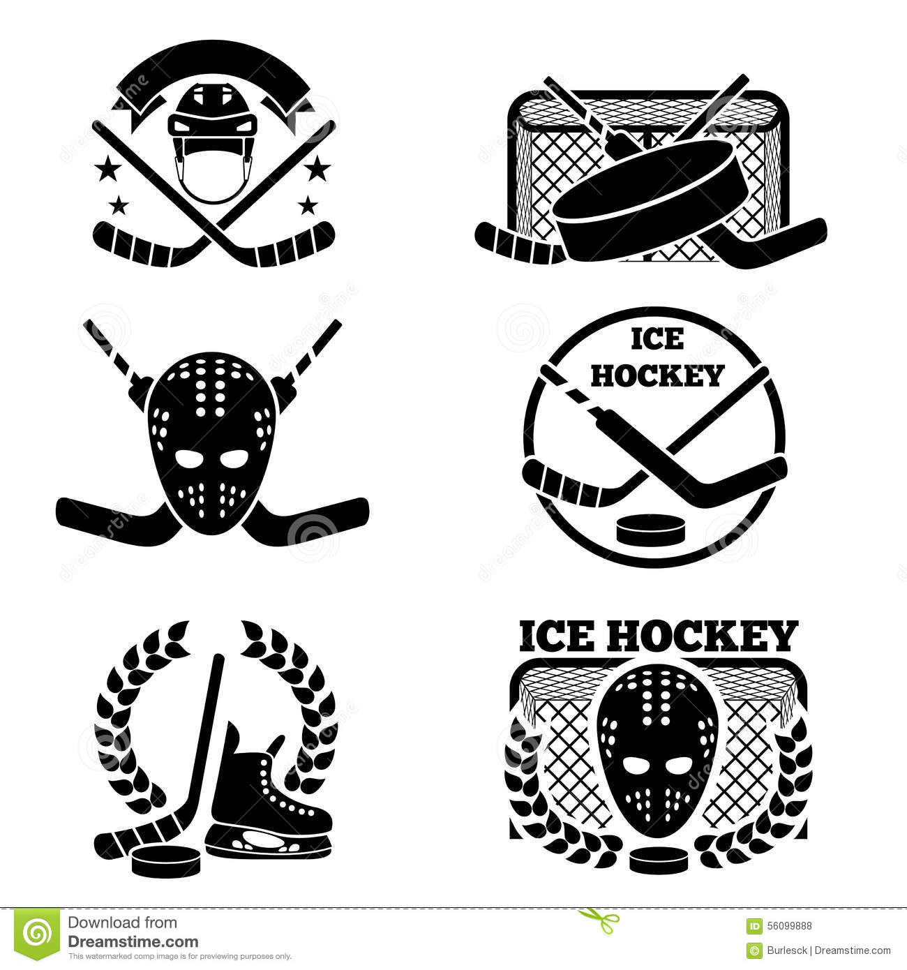Ice Hockey Emblem And Logo Set Stock Vector
