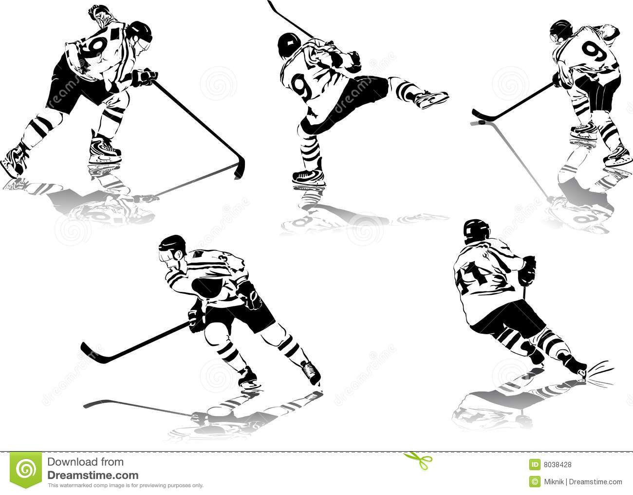 Ice Hockey Figures Stock Vector Illustration Of Shoot