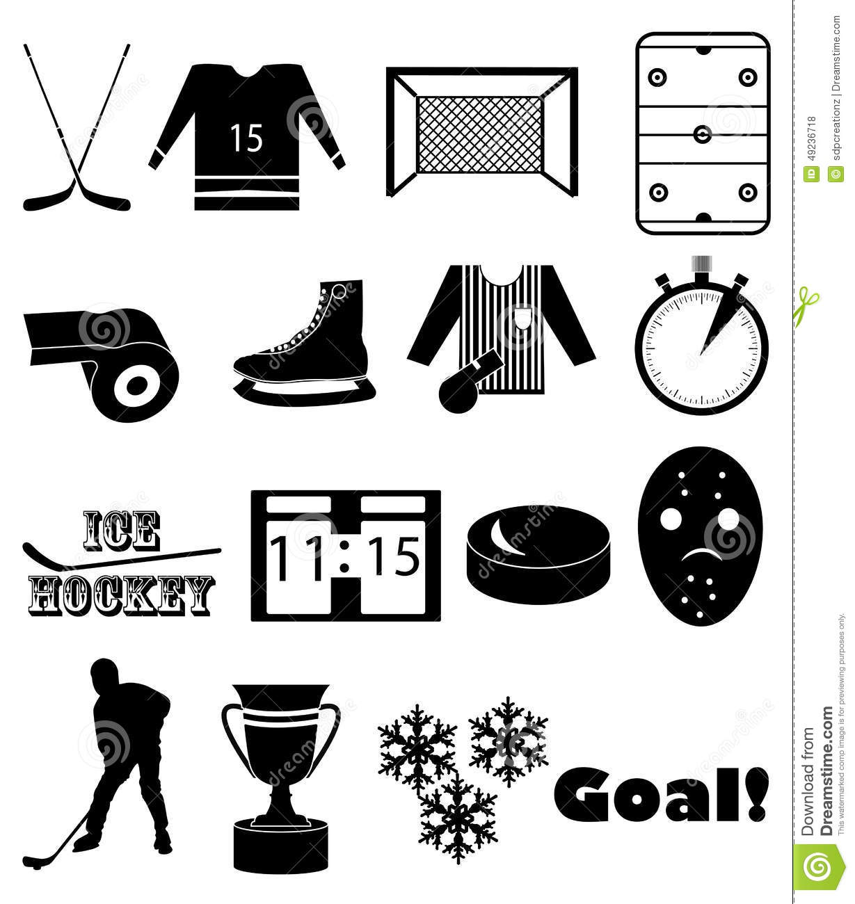 Ice Hockey Icons Set Stock Vector