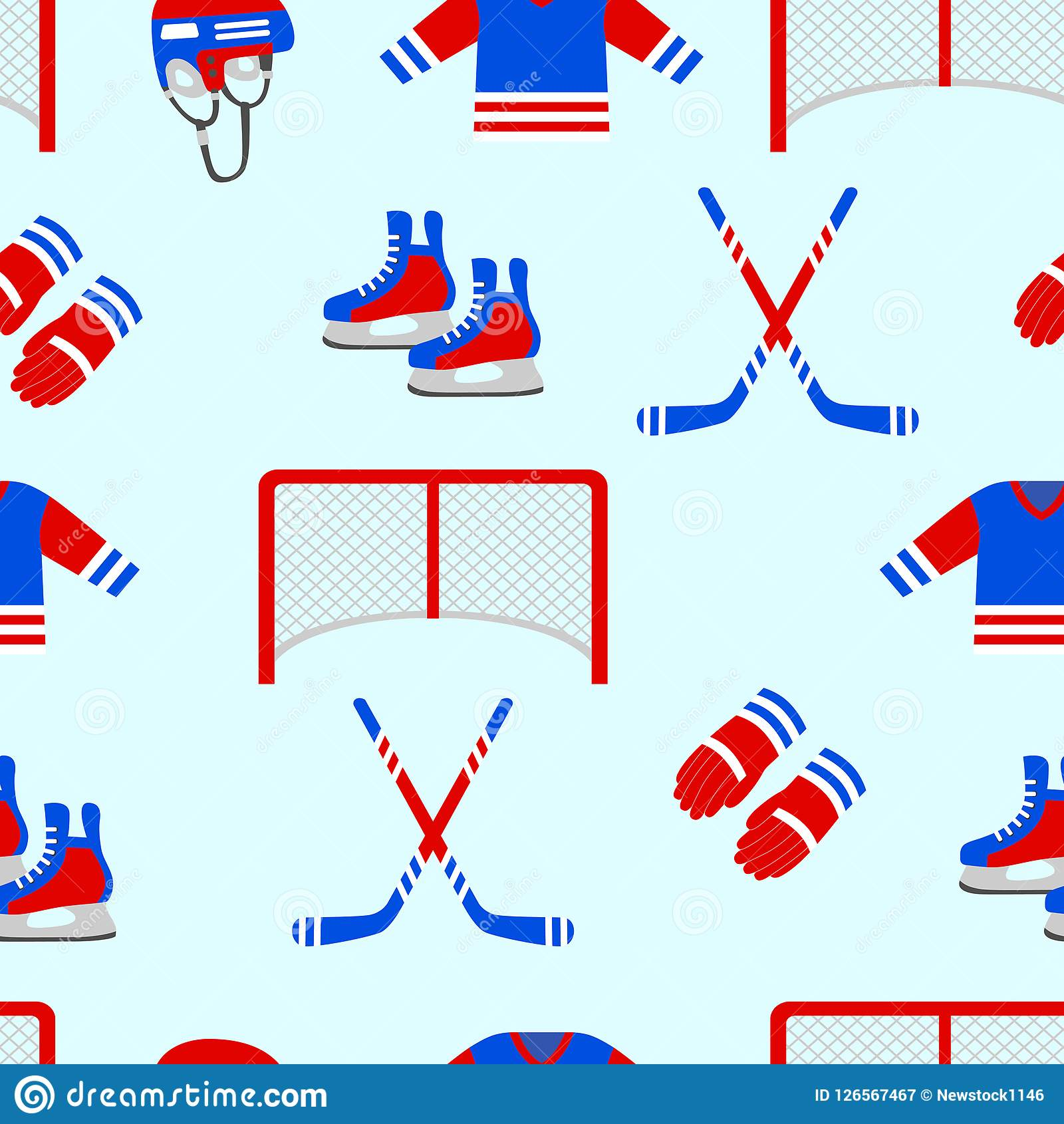 Ice Hockey Seamless Pattern Vector Repeated Texture Men