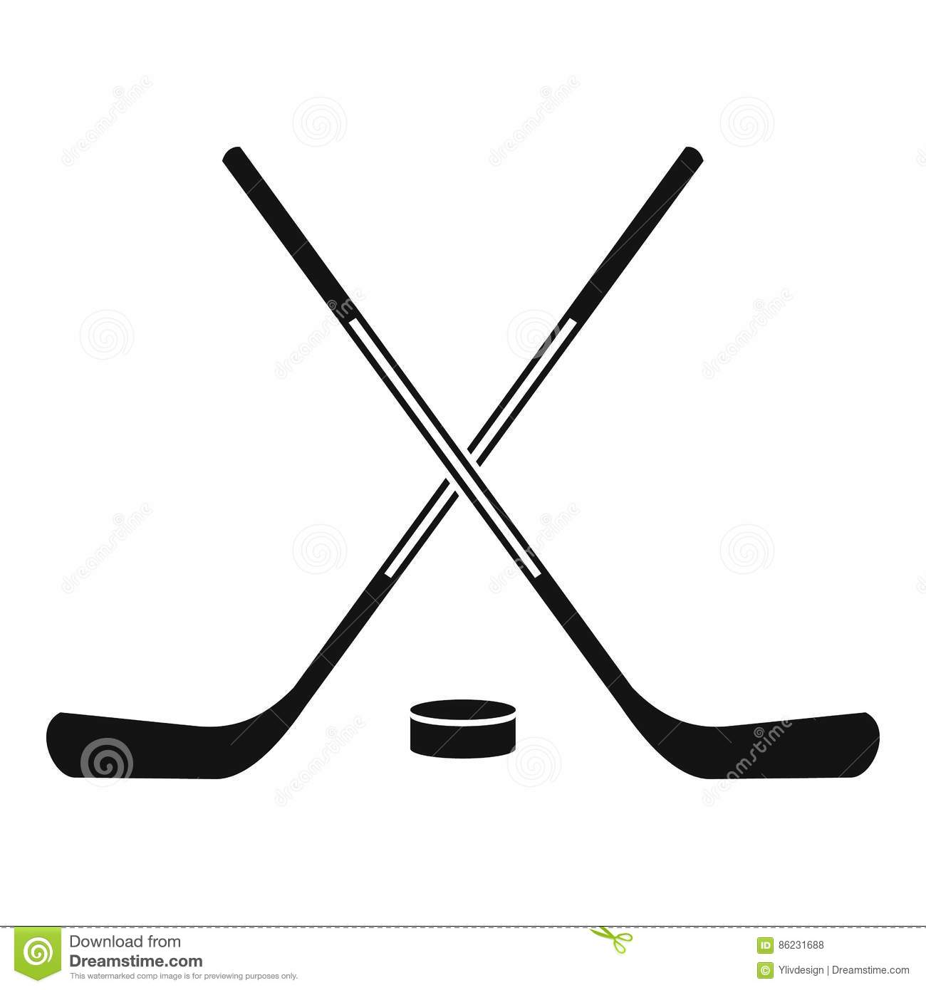 Ice Hockey Sticks Icon Simple Style Stock Vector